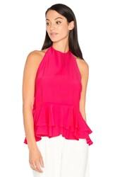 Milly Halter Ruffle Tank Pink