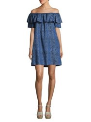 Context Off The Shoulder Abstract Print Sheath Dress Blue