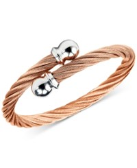 Charriol Twisted Cable Bypass Bracelet In Rose Gold Plated Stainless Steel