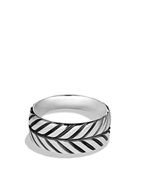 David Yurman Modern Chevron Band Ring Silver