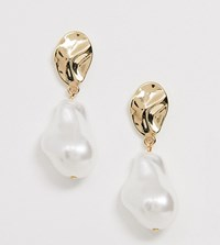 Monki Pearl Detail Drop Earrings In Gold Gold