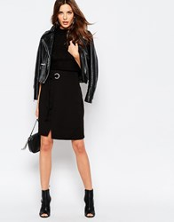 Vila D Ring Wrap Front Skirt Black