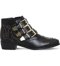 Office Lucky Charm Studded Leather Boots Black Leather Gold