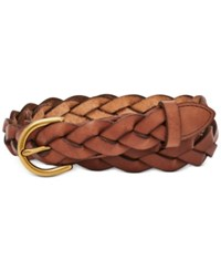 Fossil Skinny Braided Leather Belt Tan