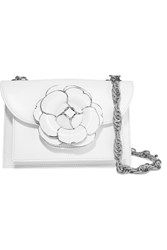 Oscar De La Renta Tro Embellished Leather Shoulder Bag White