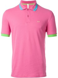 Sun 68 Wide Collar And Sleeve Detail 'Righe Fluo' Polo Shirt Pink And Purple