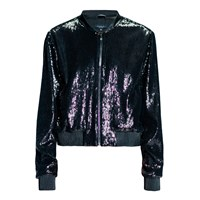 Leka Sequin Bomber Jacket Black Brown