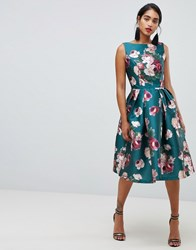 Chi Chi London Midi Dress In Winter Floral Print Multi