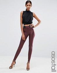 Asos Tall Leather Look Leggings With Elastic Slim Waist Oxblood Red