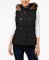Charter Club Petite Faux Fur Trim Puffer Vest Only At Macy's Deep Black