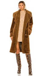 Stine Goya Happy Faux Fur Jacket In Brown. Golden Brown