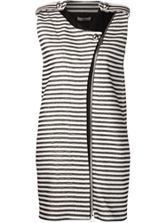 Bouchra Jarrar Woven Striped Vest Black