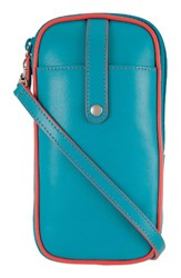 Lodis Mini Audrey Blossom Leather Crossbody Bag Blue Green Turquoise Coral