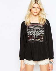 Only Boho Top With Embroidered Neckline Black