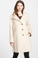 Petite Women's Fleurette Wool Stand Collar Car Coat Blanco