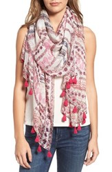 Hinge Women's Tropical Daydream Tassel Scarf Pink Combo