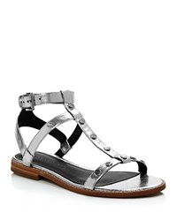 Rebecca Minkoff Sandy Metallic Leather Studded T Strap Sandals Silver