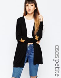 Asos Petite Swing Cardigan With Tan Suede Look Star Elbow Patches Black