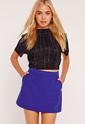 Missguided High Waisted Classic Skort Shorts Cobalt Blue