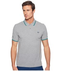 Fred Perry Slim Fit Solid Plain Polo Steel Blue Emerald Enamel Blue Men's Short Sleeve Pullover Gray