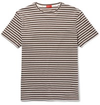 Isaia Slim Fit Striped Cotton Jersey T Shirt Brown