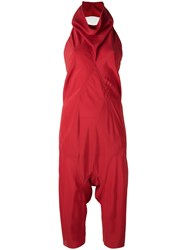 Rick Owens Cowl Neck Jumpsuit Red