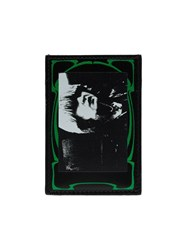 Raf Simons Black And Green Photo Print Leather Cardholder