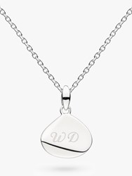 Kit Heath Personalised Sterling Silver Coast Facet Drop Pendant Necklace Silver