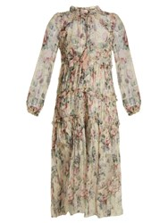Zimmermann Jasper Floral Print Silk Chiffon Dress Cream Print