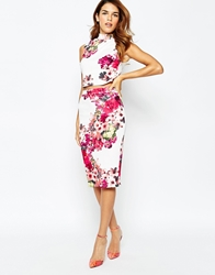 Michelle Keegan Loves Lipsy All Over Textured Floral Pencil Skirt Whitemulti