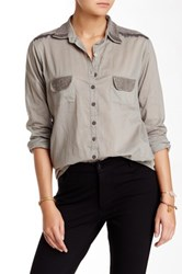 Biya Beaded Trim Blouse Gray