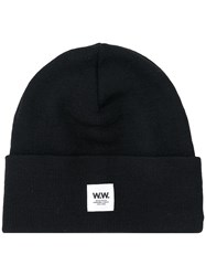 Wood Wood Ribbed Logo Patch Beanie Hat Black