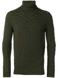 Eleventy Cable Knit Sweater Green