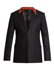 Givenchy Contrast Collar Wool Blazer Black Multi