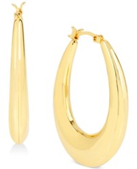 Touch Of Silver Oval Puffed Hoop Earrings In 14K Gold Plated Metal