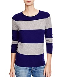 C By Bloomingdale's Striped Cashmere Sweater Midnight Light Heather Grey
