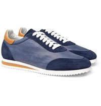 Brunello Cucinelli Leather And Suede Sneakers Navy