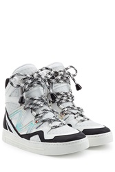 Marc By Marc Jacobs Wedge Sneakers With Metallic Leather And Mesh White