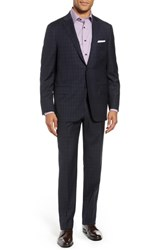 Hickey Freeman Big And Tall Classic Fit Check Wool Suit Navy