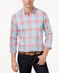 Club Room Men's Plaid Button Down Shirt Only At Macy's Coral