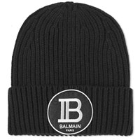 Balmain Badge Beanie Black