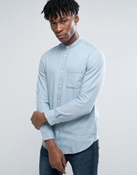 Selected Homme Long Sleeve Slim Fit Shirt With Grandad Collar In Washed Indigo Light Blue
