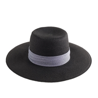 J.Crew Wide Brimmed Straw Hat In Black