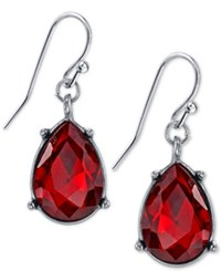 2028 Silver Tone Red Crystal Teardrop Earrings