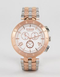 Versus By Versace S7617 Logo Bracelet Watch In Mixed Metal Silver Rose Gold