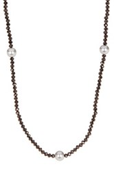 Nordstrom Rack Beaded Faux Pearl Stretch Convertible Necklace Gray