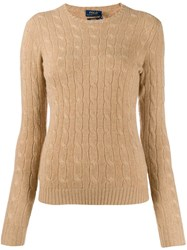 Polo Ralph Lauren Fitted Cable Knit Sweater Brown