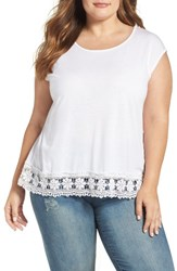 Dantelle Plus Size Women's Lace Hem Tee White