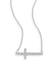 Sequin Pave Cross Necklace Silver