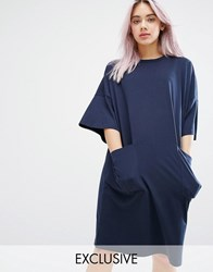 Monki Oversized Pocket T Shirt Dress Navy
